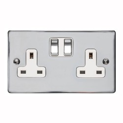 13A Switched Twin Socket in Polished Chrome Plate and Switch with White Plastic Trim, Elite Flat Plate