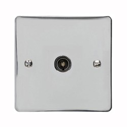 1 Gang TV/Coaxial Non-Isolated Socket in Polished Chrome Flat Plate with Black Trim, Elite Flat Plate