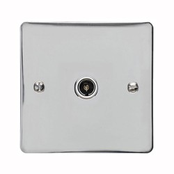1 Gang TV/Coaxial Non-Isolated Socket in Polished Chrome Flat Plate with White Trim, Elite Flat Plate