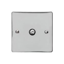 1 Gang Satellite Socket in Polished Chrome Flat Plate with Black Plastic Trim, Elite Flat Plate