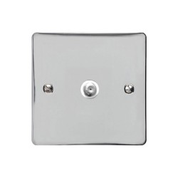 1 Gang Satellite Socket in Polished Chrome Flat Plate with White Plastic Trim, Elite Flat Plate