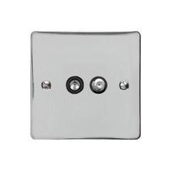 Satellite/TV Socket in Polished Chrome Flat Plate with Black Plastic Trim, Elite Flat Plate