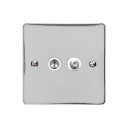 Satellite/TV Socket in Polished Chrome Flat Plate with White Plastic Trim, Elite Flat Plate