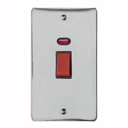45A Red Rocker Cooker Switch with Neon Flat Plate (twin plate) in Polished Chrome with Black Trim, Elite Flat Plate
