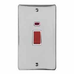 45A Red Rocker Cooker Switch with Neon Flat Plate (twin plate) in Polished Chrome with White Trim, Elite Flat Plate