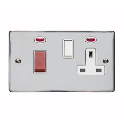 45A Cooker Unit with 13A Socket with Neon Indicators Polished Chrome with White Trim, Elite Flat Plate