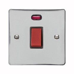 1 Gang 45A Red Rocker Cooker Switch (Single Plate) with Neon in Polished Chrome with Black Trim, Elite Flat Plate