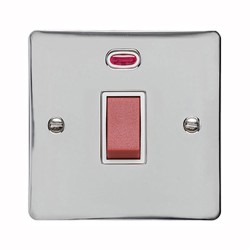 1 Gang 45A Red Rocker Cooker Switch (Single Plate) with Neon in Polished Chrome with White Trim, Elite Flat Plate