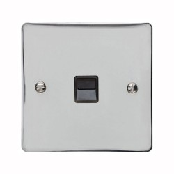 1 Gang Secondary Telephone Socket in Polished Chrome with Black Trim, Elite Flat Plate