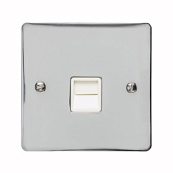1 Gang Secondary Telephone Socket in Polished Chrome with White Trim, Elite Flat Plate