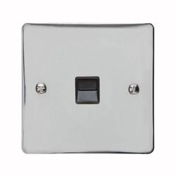 1 Gang Master Line Telephone Socket in Polished Chrome with Black Trim, Elite Flat Plate
