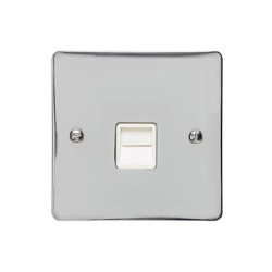 1 Gang Master Line Telephone Socket in Polished Chrome with White Trim, Elite Flat Plate