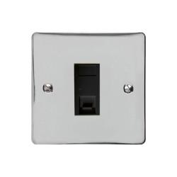 1 Gang RJ45 Single Data Socket Outlet in Polished Chrome with Black Trim, Elite Flat Plate