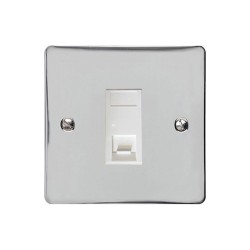 1 Gang RJ45 Single Data Socket Outlet in Polished Chrome with White Trim, Elite Flat Plate