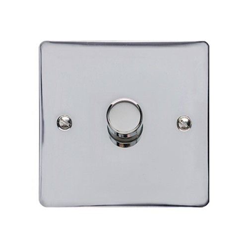 1 Gang 2 Way Trailing Edge LED Dimmer 10-120W Polished Chrome Plate and Knob, Elite Flat Plate