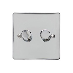 2 Gang 2 Way Trailing Edge LED Dimmer 10-120W Polished Chrome Plate and Knob, Elite Flat Plate