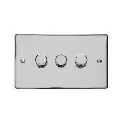 3 Gang 2 Way Trailing Edge LED Dimmer 10-120W Polished Chrome Plate and Knob, Elite Flat Plate