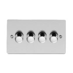 4 Gang 2 Way Trailing Edge LED Dimmer 10-120W Polished Chrome Plate and Knob, Elite Flat Plate