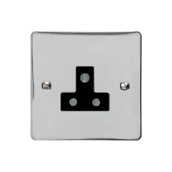 5A 3 Pin Unswitched Socket in Polished Chrome Flat Plate with Black Trim, Elite Flat Plate