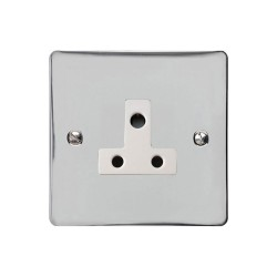 5A 3 Pin Unswitched Socket in Polished Chrome Flat Plate with White Trim, Elite Flat Plate