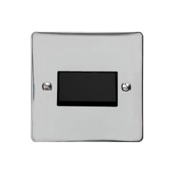 6A Triple Pole Fan Isolator Switch in Polished Chrome with Black Trim and Switch, Elite Flat Plate
