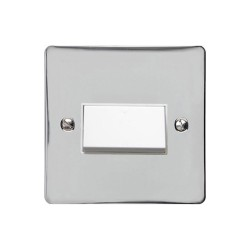 6A Triple Pole Fan Isolator Switch in Polished Chrome with White Trim and Switch, Elite Flat Plate