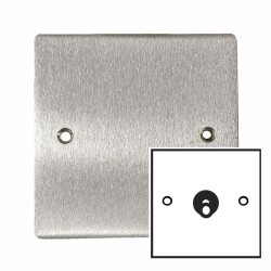 1 Gang 2 Way 20A Single Dolly Switch in Satin Chrome Flat Plate and Toggle, Elite Flat Plate
