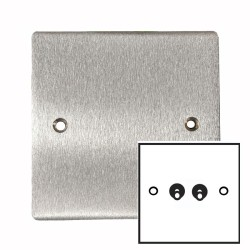 2 Gang 2 Way 20A Twin Dolly Switch in Satin Chrome Flat Plate and Toggle, Elite Flat Plate
