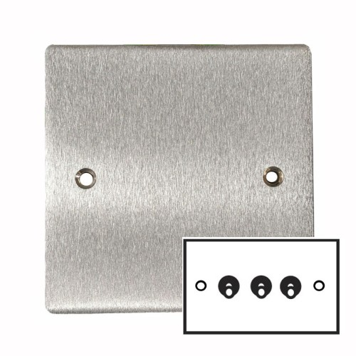 3 Gang 2 Way 20A Dolly Switch in Satin Chrome Flat Plate and Toggle, Elite Flat Plate
