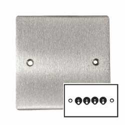 4 Gang 2 Way 20A Dolly Switch in Satin Chrome Flat Plate and Toggle Switch, Elite Flat Plate