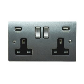 2 Gang 13A Socket with 2 USB Sockets Satin Chrome Elite Flat Plate and Rocker with Black Plastic Insert