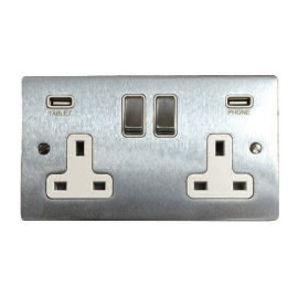 2 Gang 13A Socket with 2 USB Sockets Satin Chrome Elite Flat Plate and Rocker with White Plastic Insert