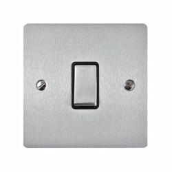 1 Gang 2 Way 10A Rocker Switch in Satin Chrome Plate and Switch with Black Plastic Trim, Elite Flat Plate