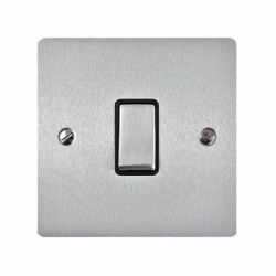 1 Gang 20A Double Pole Rocker Switch in Satin Chrome Plate and Switch with Black Trim, Elite Flat Plate