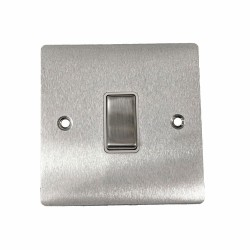 1 Gang 20A Double Pole Rocker Switch in Satin Chrome Plate and Switch with White Trim, Elite Flat Plate