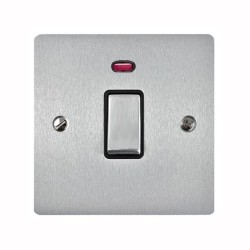 1 Gang 20A Double Pole Switch with Neon in Satin Chrome Plate and Switch with Black Trim, Elite Flat Plate