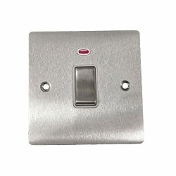 1 Gang 20A Double Pole Switch with Neon in Satin Chrome Plate and Switch with White Trim, Elite Flat Plate