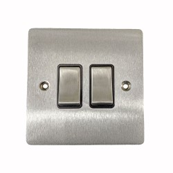 2 Gang 2 Way 10A Rocker Switch in Satin Chrome Plate and Switch with Black Plastic Trim, Elite Flat Plate
