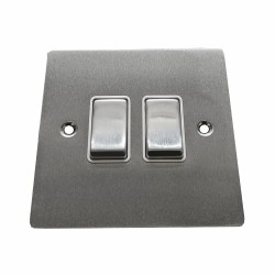 2 Gang 2 Way 10A Rocker Switch in Satin Chrome Plate and Switch with White Plastic Trim, Elite Flat Plate