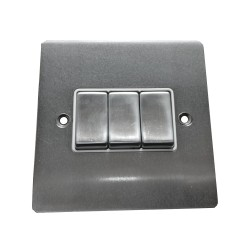 3 Gang 2 Way 10A Rocker Switch in Satin Chrome Plate and Switch with White Plastic Trim, Elite Flat Plate
