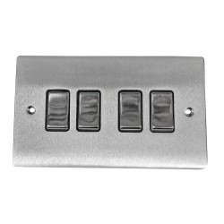 4 Gang 2 Way 10A Rocker Switch in Satin Chrome Plate and Switch with Black Plastic Trim, Elite Flat Plate