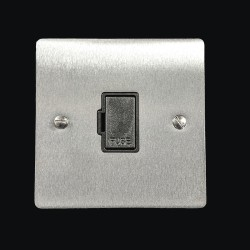 1 Gang 13A Unswitched Fused Spur in Satin Chrome Flat Plate with Black Plastic Trim, Elite Flat Plate