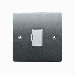 1 Gang 13A Unswitched Fused Spur in Satin Chrome Flat Plate with White Plastic Trim, Elite Flat Plate