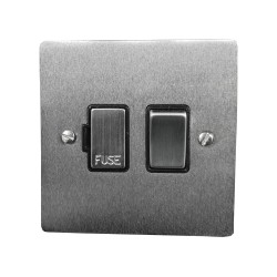 1 Gang 13A Switched Fused Spur in Satin Chrome Plate and Switch with Black Plastic Trim, Elite Flat Plate