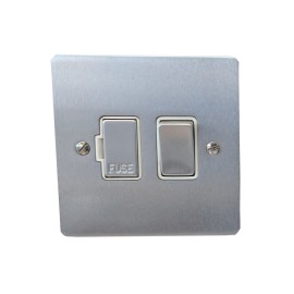 1 Gang 13A Switched Fused Spur in Satin Chrome Plate and Switch with White Plastic Trim, Elite Flat Plate