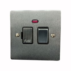 13A Switched Fused Spur with Neon in Satin Chrome Plate and Switch with Black Plastic Trim, Elite Flat Plate