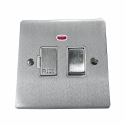 13A Switched Fused Spur with Neon in Satin Chrome Plate and Switch with White Plastic Trim, Elite Flat Plate