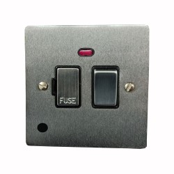 13A Switched Fused Spur with Neon and Cord in Satin Chrome Plate and Switch with Black Plastic Insert, Elite Flat Plate
