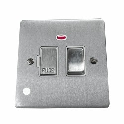 13A Switched Fused Spur with Neon and Cord in Satin Chrome Plate and Switch with White Plastic Insert, Elite Flat Plate