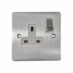 1 Gang 13A Switched Single Socket in Satin Chrome Plate and Switch with White Plastic Trim, Elite Flat Plate